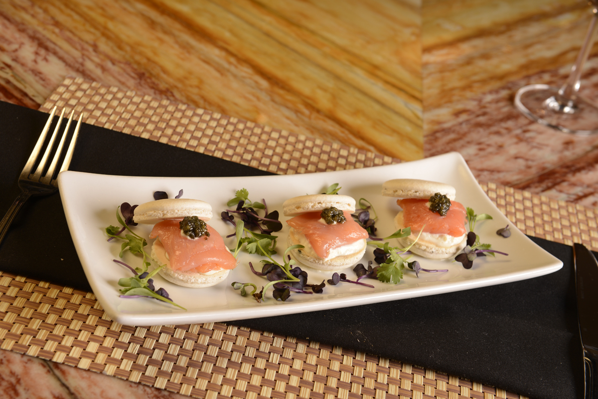 Smoked Salmon Macaroon with Caviar